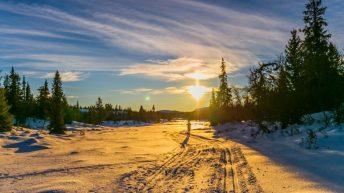 Homme Qui Fait Du Ski En Norvège Soleil Qui Se Couche